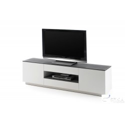 Daren II - lacquered tv unit with stone imitation top