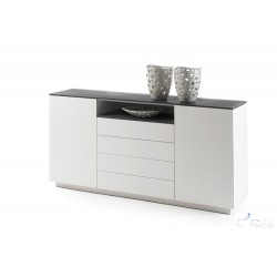 Daren II - lacquered sideboard with stone imitation top