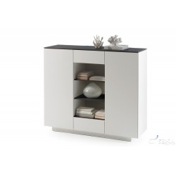 Daren V - lacquered highboard with stone imitation top