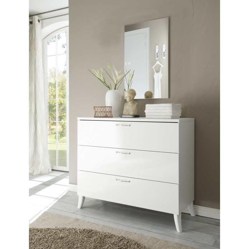 Mila lacquered chest of drawers with soft close furniture by room 2226 sena home furniture for Bedroom furniture soft close drawers