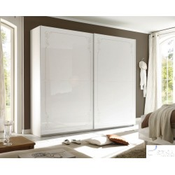 Mila - wardrobe with white gloss doors and decorative ornaments