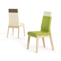 Pescara II - high back two tones wood and fabric chair