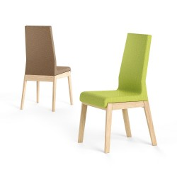 Pescara - high back wood and fabric chair