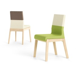 Pescara II - low back two tones wood and fabric chair