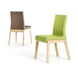 Pescara - low back wood and fabric chair