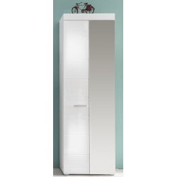 Amanda - hallway wardrobe in white gloss finish with mirror