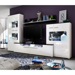 Loma - modern wall unit with white gloss fronts with LED lights