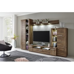 Rustico - walnut finish lounge set with LED lights