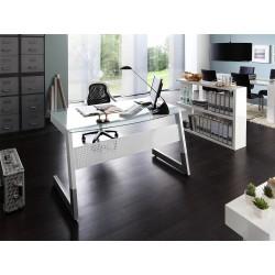 Glass desk - 150cm wide in white finish