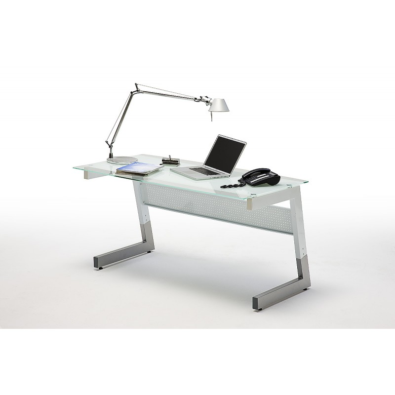 Glass Desk 150cm Wide In White Finish Office 2300