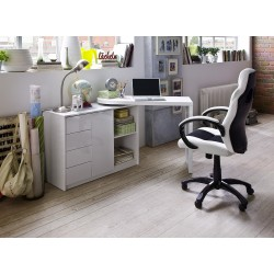 Mark - white lacquered swivel computer desk