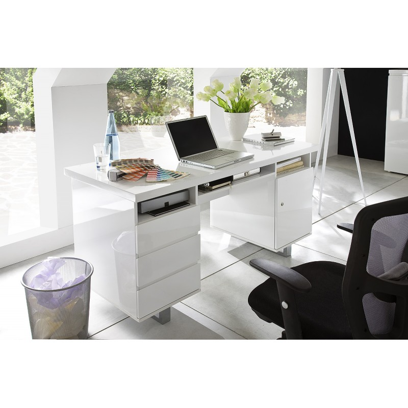Sydney Ii White Lacquered Computer Desk Office 2305