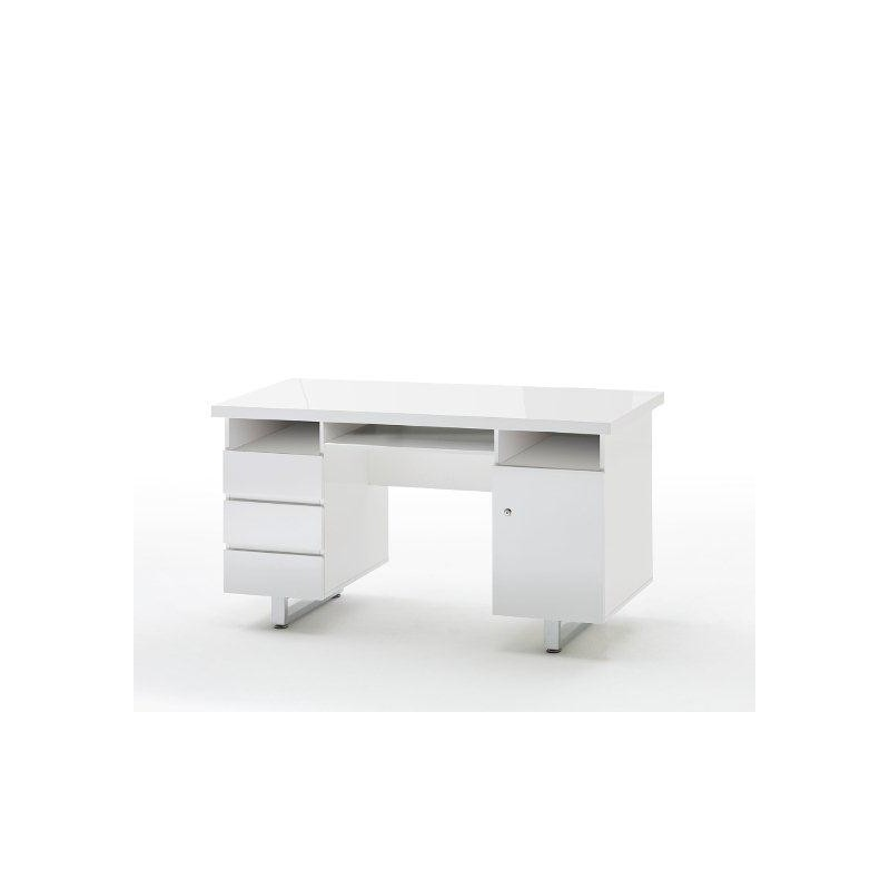 Sydney Ii White Lacquered Computer Desk Office Sena Home Furniture