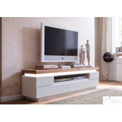 Eris II large TV stand with natural oak top and led lights