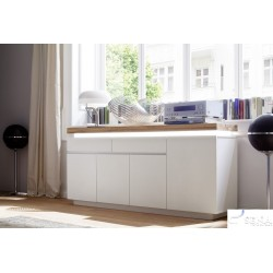 Eris II - gloss sideboard with LED lights and natural OAK top