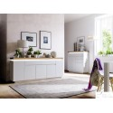 Eris III - gloss sideboard with LED lights and natural OAK top