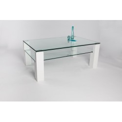 Alessio II - glass top coffee table with white lacquered legs