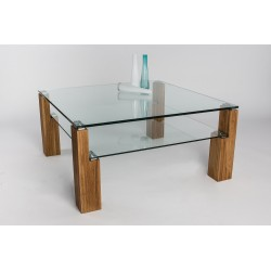 Alessio - glass top coffee table with wild oak legs