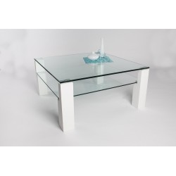 Alessio II - square glass top coffee table with white lacquered legs