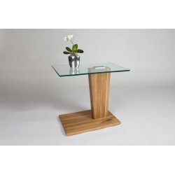Arianna III - glass top side table with solid oak base