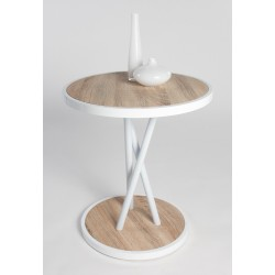 Brit II -high gloss side table with light oak top