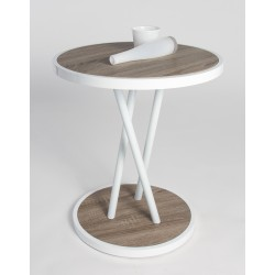 Brit III -high gloss side table with dark oak top