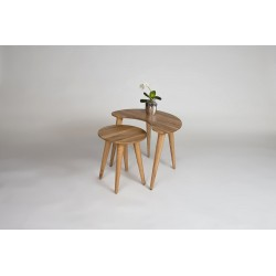Britta-contemporary nest of 2 tables in solid wild oak