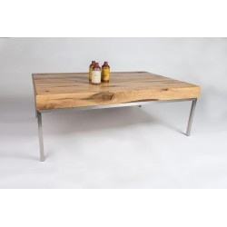 Castilo II - solid wood coffee table with steel legs
