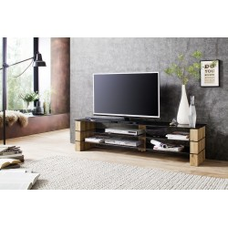 Kara - solid oak and glass TV stand