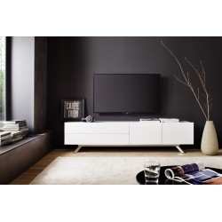 Bona matt white lacquered TV unit with steel legs EX display