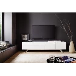 Bona - matt white lacquered TV unit with steel legs