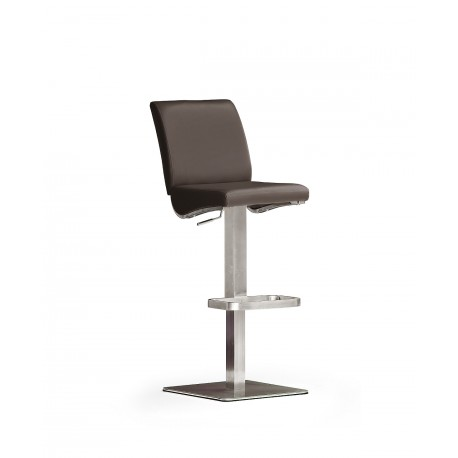 Olis II - Bar Stool in natural leather and stainless steel finish