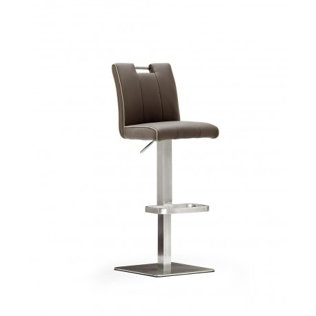 Casio II - Bar Stool in natural leather and stainless steel