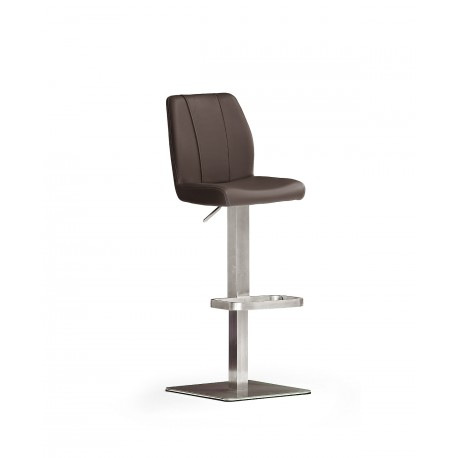 Napoli II - Bar Stool in natural leather and stainless steel