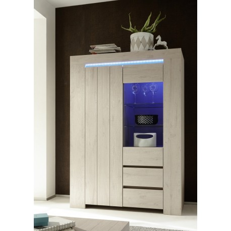 Palmira - Large display cabinet in rose beige finish with lights