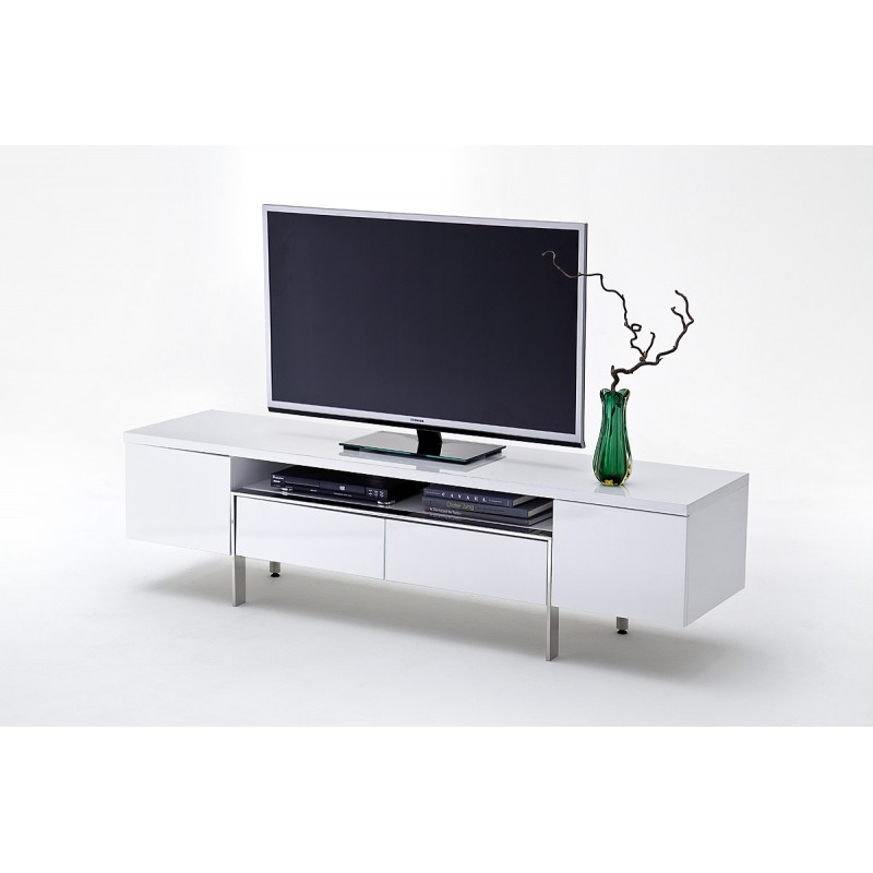 Orte High Gloss Tv Unit With Chrome Legs Tv Stands
