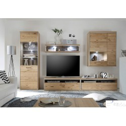 Blanca II assembled solid wood wall unit composition