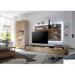 Blanca III assembled solid wood wall unit composition