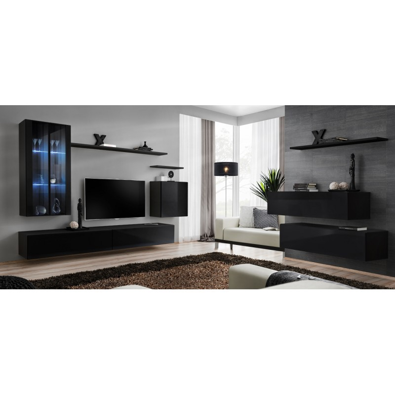 Switch i modular wall display cabinet with led lights for Display home furniture
