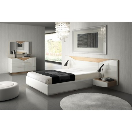 Diam - lacquered bespoke luxury bed with bedside cabinets