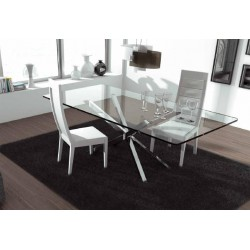 Trapeze - polished steel dining table with glass top