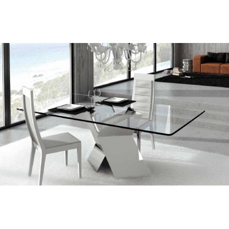 Trapeze II - polished steel dining table with glass top