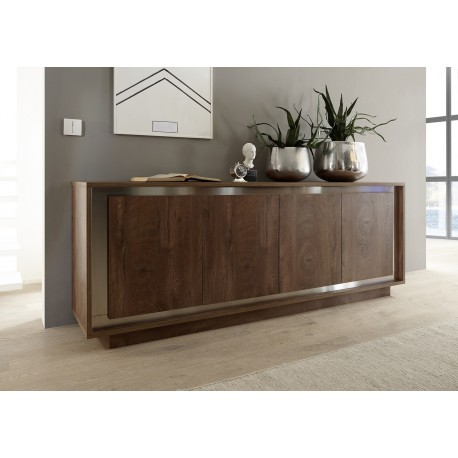 amber modern sideboard in oak cognac finish with inlays. Black Bedroom Furniture Sets. Home Design Ideas