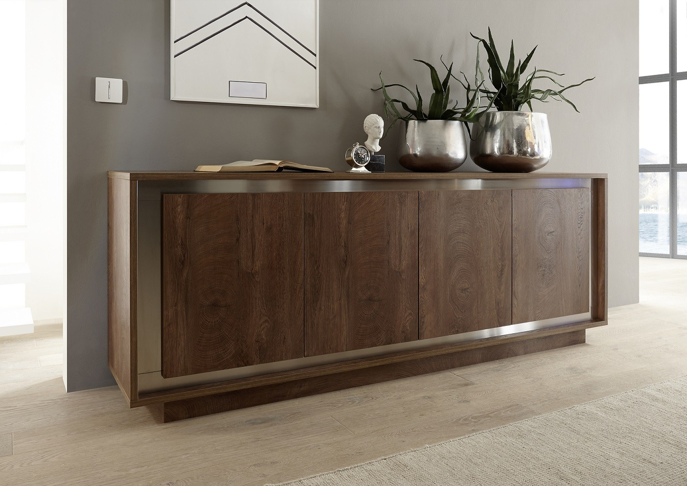 amber modern sideboard in oak cognac finish with inlays sideboards 2542 sena home furniture. Black Bedroom Furniture Sets. Home Design Ideas