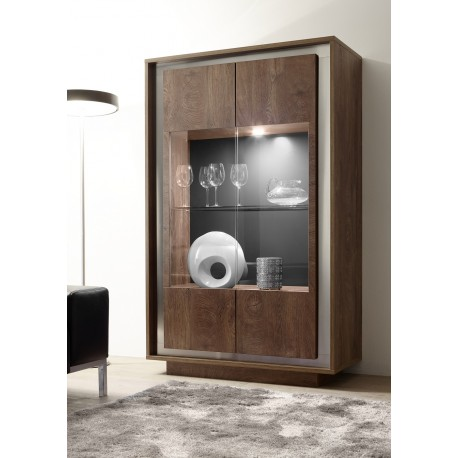 Amber - oak cognac 4 door modern display cabinet with lights