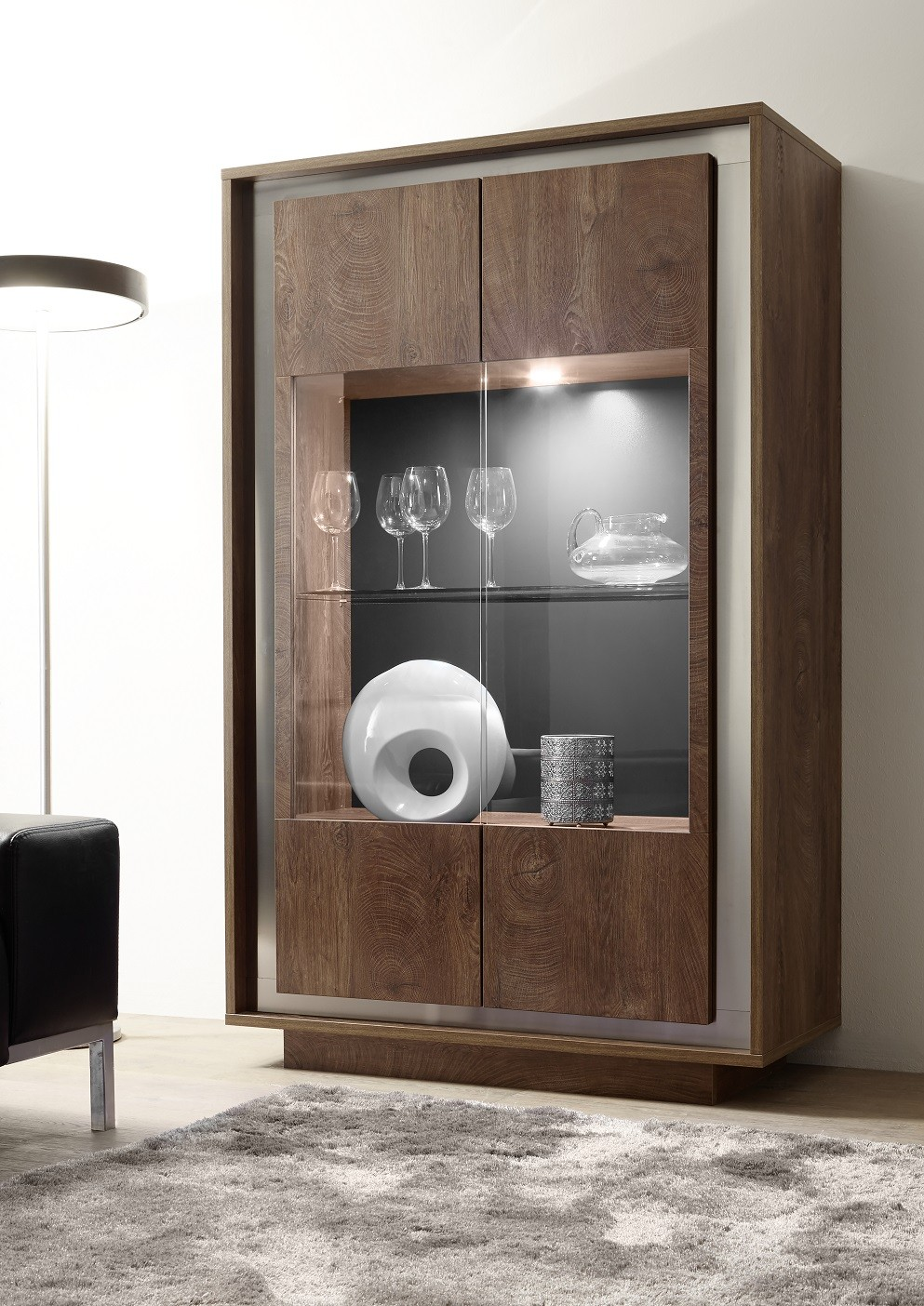 Amber modern display cabinet in oak cognac. & classic display cabinets (60) - Sena Home Furniture