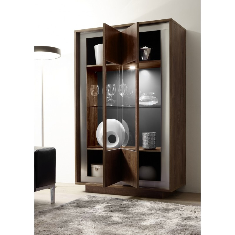Amber Modern Display Cabinet In Oak Cognac Finish With