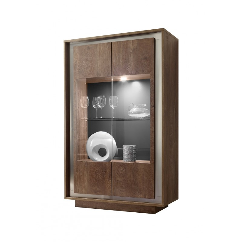 Amber Modern Display Cabinet In Oak Cognac Finish With Lights