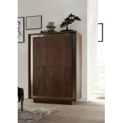 Amber modern storage cabinet in oak cognac finish with inlays