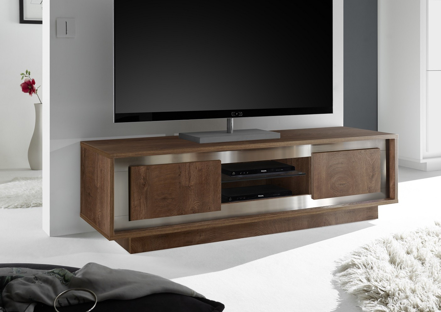 Amber Modern Tv Stand In Oak Cognac Finish Furniture By Room  # Meuble Tv Karma